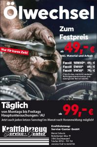 Ölwechsel - Zum Festpreis - ab 49,- € inkl. Material und Arbeit