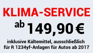 Klima-Service 149,90 € inklusive Kältemittel, ausschließlich für R 1234yf-Anlagen für Autos ab 2017